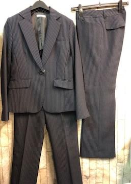 新品☆9号お仕事に2パンツスーツ紺ストライプ股下72�p☆b876