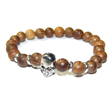 送料無料 木製 スカル ガイコツ ドクロ 茶色 ブレスレット 数珠