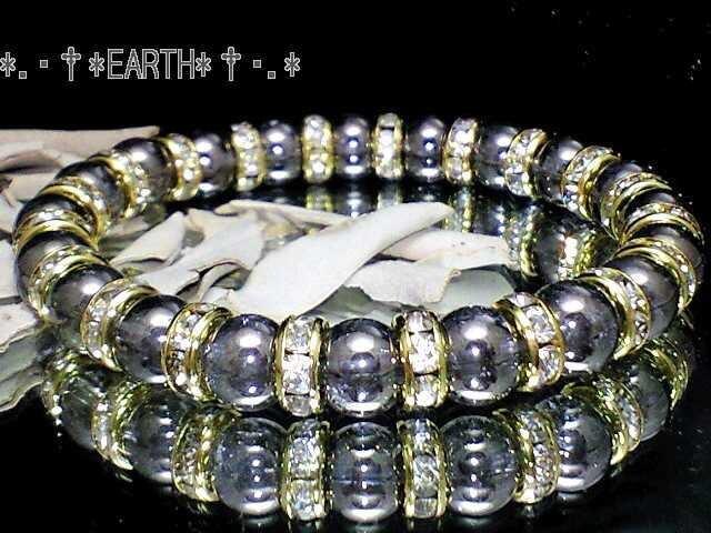 天然石★8ミリ銀色爆裂水晶クラック金色ロンデル数珠  < 女性アクセサリー/時計の