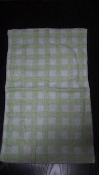 新品 ソフトタオル地枕カバー(黄緑チェック柄)35×50�p用