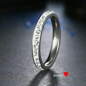 送料無料18号シルバースーパーCZダイヤフルエタニティリング指輪