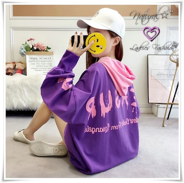 新作★大きいサイズ2L〜4L バック&袖ロゴパーカー*紫