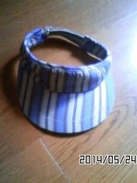 水色 ブルー ストライプ 綿 サンバイザー おだんごヘアに テニス