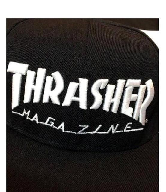 ラス�@Thrasherスラッシャー★アンダーバイザーロゴ★スナップバックキャップブラック < ブランドの