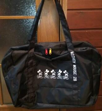ミッキーマウスナイロン黒ブラックトートバッグ旅行バッグスクールバッグディズニー