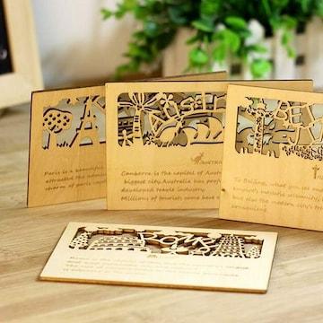動物の森 木製 ポストカード 4種 フルセット 1/A9D