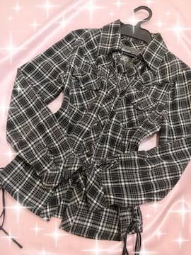 黒×白☆°チェックシャツ♪サイド編み上げ☆°ムチむちタイト♪