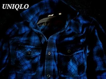 【UNIQLO】ユニクロ マイクロソフト チェックフリースシャツ L/Blue