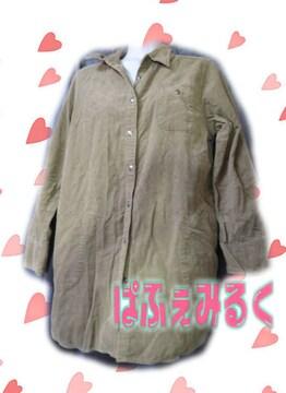 L106☆コーデュロイ素材☆カーキの8分袖ネルシャツ