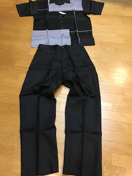 GODBODY セットアップ 半袖シャツ 黒グレー  sizeXL  W38 麻100%