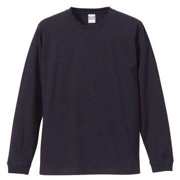 5.6オンス ロングスリーブTシャツ(1.6インチリブ)ネイビーXXL