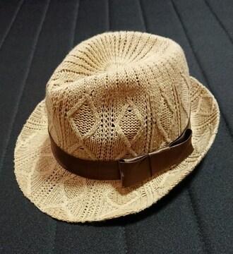 ブラウンリボン付きハット/帽子/ニット