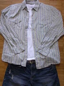 即決USA古着鮮やかチェックデザインシャツ!ビンテージ