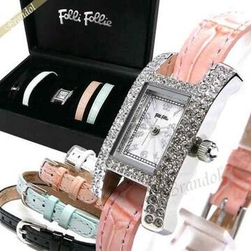 新品Folli Follie替えベルト付き腕時計。定価38800円ベルト4本フォリフォリ