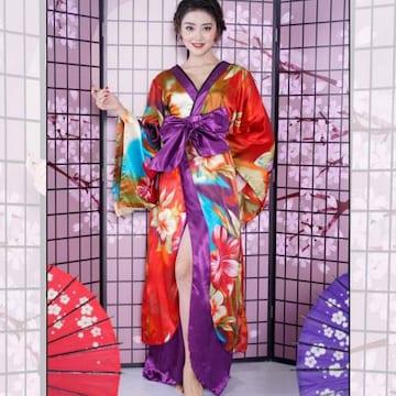 花魁風 サテン着物 フリルロングドレス 衣装 和柄 キャバドレス チャムドレス