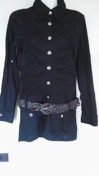 新品ベルト付きシャツワンピースブラック