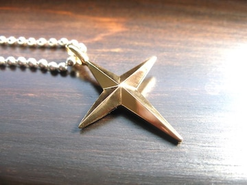 仁尾彫金『ゴールド十字星クロス』十字架ハンドメイド
