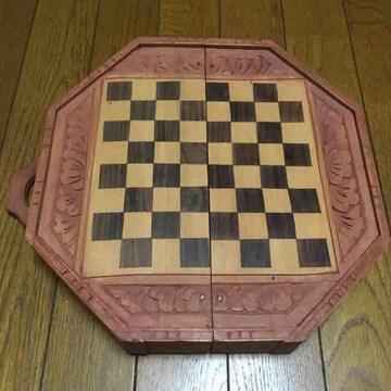 ハンドメイド チェス盤 黒檀 エボニー 手彫り 美品