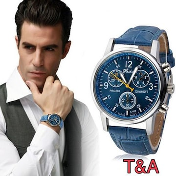 腕時計 メンズ  高品質レザー 革 ベルト ウォッチ 青色