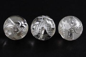 天然水晶☆俊足白龍の彫ビーズ12mm1粒☆