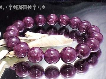 天然石★10ミリ不眠予防高級レピドライト濃赤紫モザンビ-ク産数珠