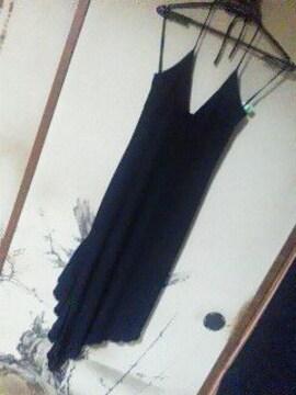 美品ホルターアシメロングドレス黒Fキャバ結婚式