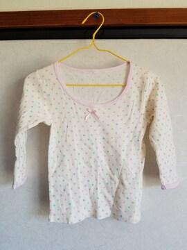 クリーム色にピンク、青、緑水玉の長袖95