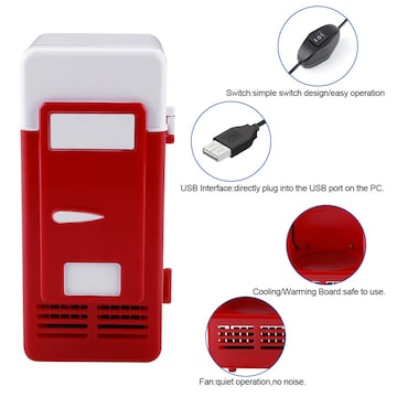 ミニ冷蔵庫 USB冷蔵庫 ドリンク飲料缶 冷蔵庫ヒーター R