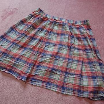 4L5L6L/新品☆チェック柄スカンツ/スカートに見えるパンツ