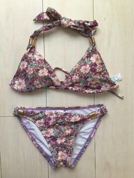 ダズリン 水着 ビキニ 三角 パープル 紫 花柄 フラワー