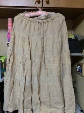 ベージュ綿100ロングスカート