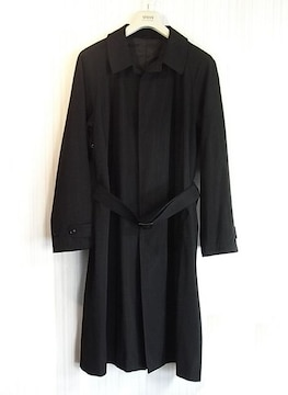 size50☆美品☆アルマーニ シワ加工ウール製ロングコート