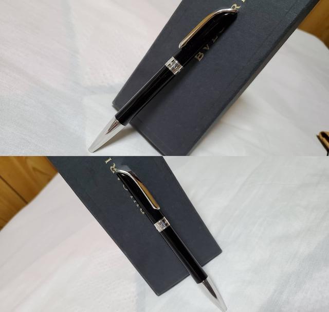 正規レア ブルガリ クラシック エンブレムロゴボールペン黒 14cm 付属有 男女兼用 < ブランドの