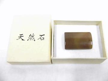 送料無料 わけあり品 天然石の帯留 長方形 18 薄茶色 新品