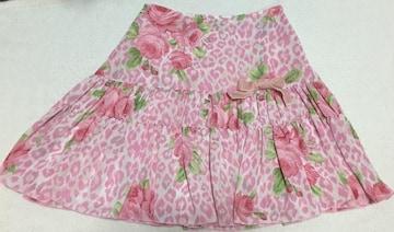 ディアマンテ☆ヒョウ薔薇柄スカート☆ピンク