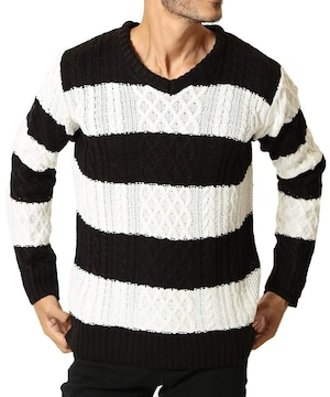 ニット セーター メンズ ニット 厚手 長袖  防寒 VWB