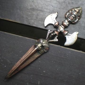 真鍮・銅・白銅製 パラシュ 15.7センチ 密教法具