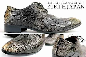 送料無料 クロコ トンガリ ローファー■メンズ シューズ オラオラ ホスト 靴 103 黒-27.0