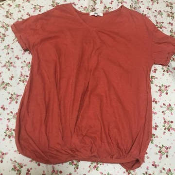 オゾック ozoc 綿麻 リネン混 半袖Tシャツ オレンジ ゆったり