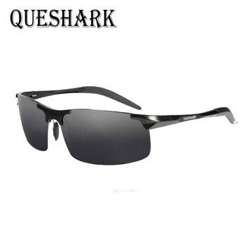 QUESHARK 偏光サングラスメタル超軽量 ブラック