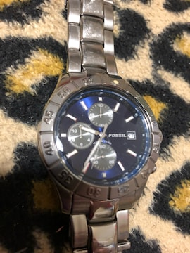 フォッシル クロノグラフ 腕時計 ブルーフェイス