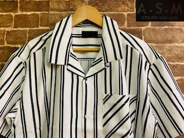 表記M/新品!A.M.S ストライプ 半袖 ポリシャツ 定価¥7700 サーフ ヒッピー