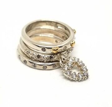 正規美品フォリフォリリングセット重ね指輪約11号3点ストーン