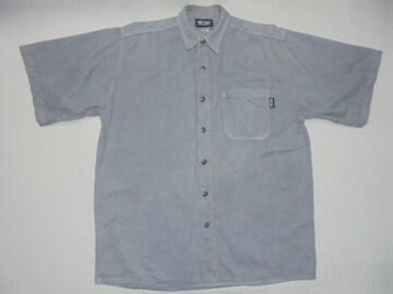 Tuff Stuffシャツ半袖無地綿100%ツイルUSA製灰Mビッグシルエット