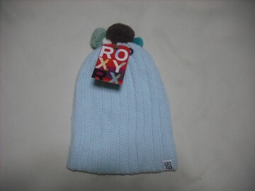 wb568 ROXY ロキシー ボンボン付き ウール ニット帽 青