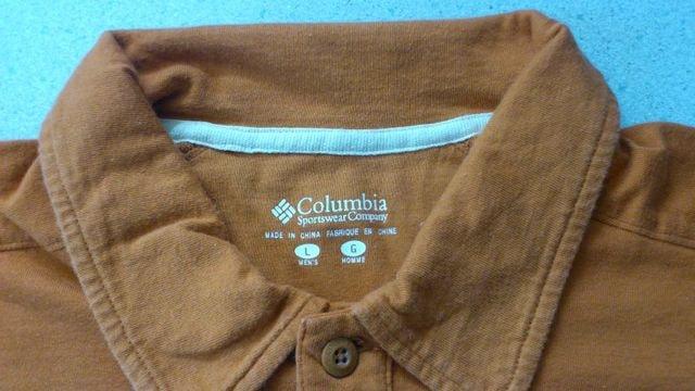 訳あり激安88%オフアウトドア、コロンビア、半袖ポロシャツ(美品、橙白、L) < 男性ファッションの