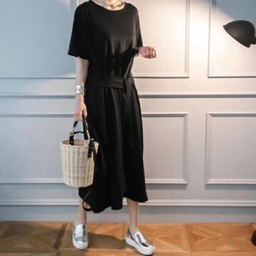 ロング丈ワンピース 飾りベルト シンプルデザイン ブラック