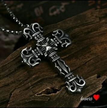 送料無料クロムシルバービッグクロス十字架チェーンネックレス