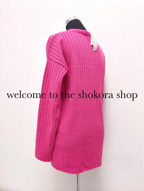 新品*Vネック テール リブ ニット ネオン ピンク < 女性ファッションの