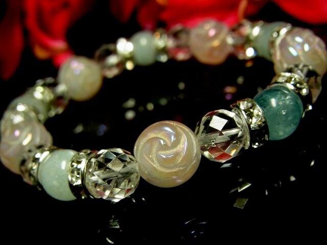バラ彫ローズクォーツ10ミリ§ダイヤカット水晶§アクアマリン8ミリ§銀ロンデル  < 女性アクセサリー/時計の